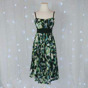 Dress Barn Green Pleated Floral Dress